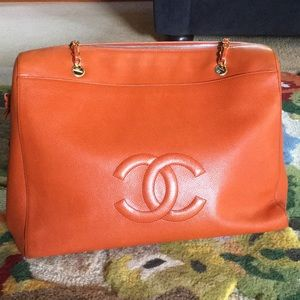 Vintage Orange Chanel Shopper Bag